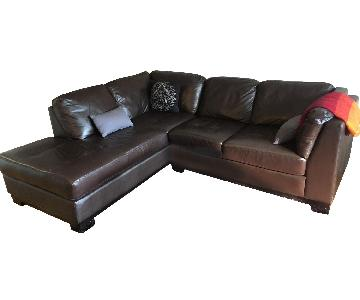 Brown Leather 2-Piece Sectional Sofa