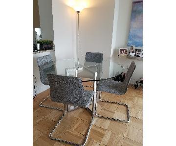 CB2 Silverado Glass/Chrome Table w/ 4 Grey Tweed Chairs