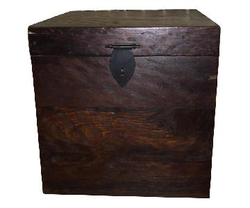 Dark Wood Antique Style Square Storage Trun