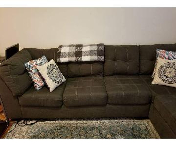 Grey Fabric 2-Piece Sectional Sofa
