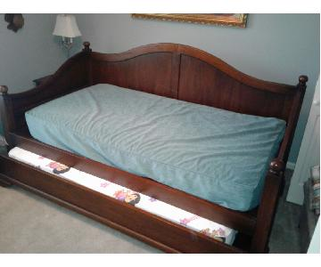 Solid Wood Twin Bed w/ Trundle