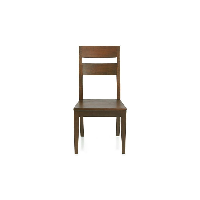 Crate U0026 Barrel Basque Honey Wood Dining Chairs ...