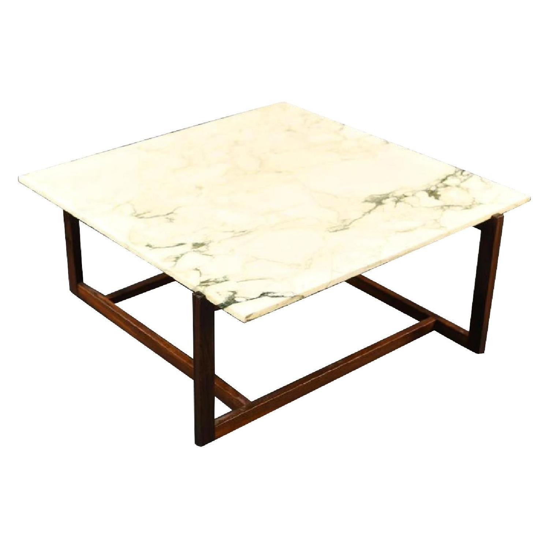 Danish Mid Century Wood & Marble Coffee Table