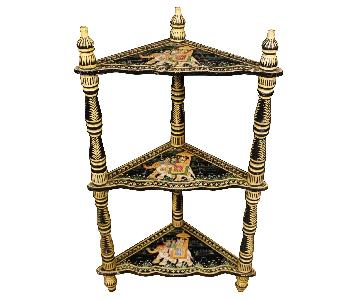 20th Century Indian Corner Shelves in Painted Wood