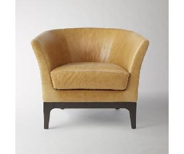 West Elm Honey Leather Tulip Chair