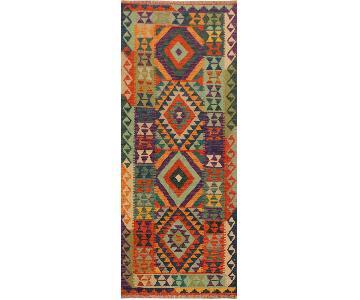 Kilim Arya Andrew Rust/Purple Wool Rug