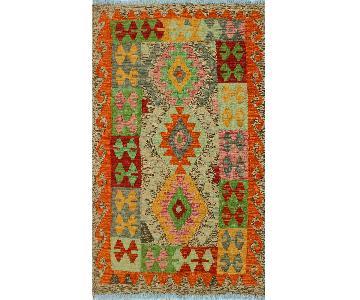 Kilim Arya Dinorah Gray/Red Wool Rug