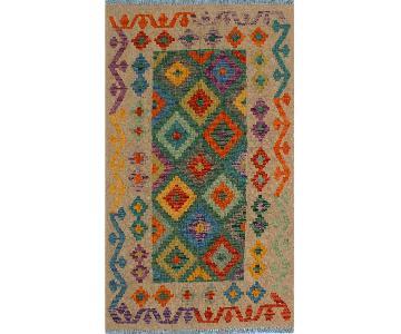 Kilim Arya Ka Ivory/Green Wool Rug