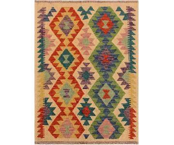 Kilim Arya Demetriu Ivory/Red Wool Rug