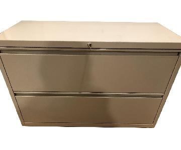 2 Drawer Wide Metal File Cabinet