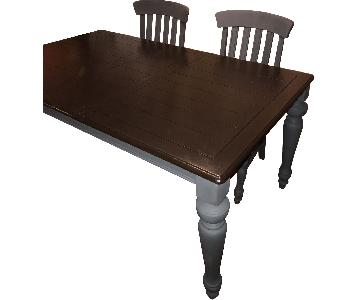 Pottery Barn Chocolate & Slate Gray Farm Table w/ 4 Chairs