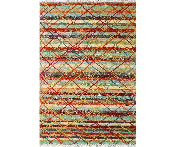 Moroccan High-Low Pile Perry Gray/Red Wool Rug