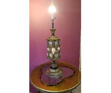 Vintage Table Lamp in Gold Leaf w/ Aurora Borealis Glass