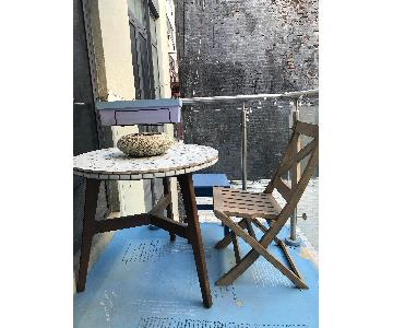 West Elm Marble Outside/Patio Table w/ Wood Folding Chair