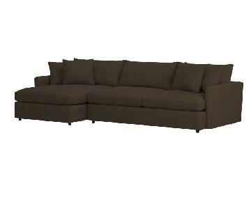 Crate & Barrel Brown Fabric Sectional Sofa