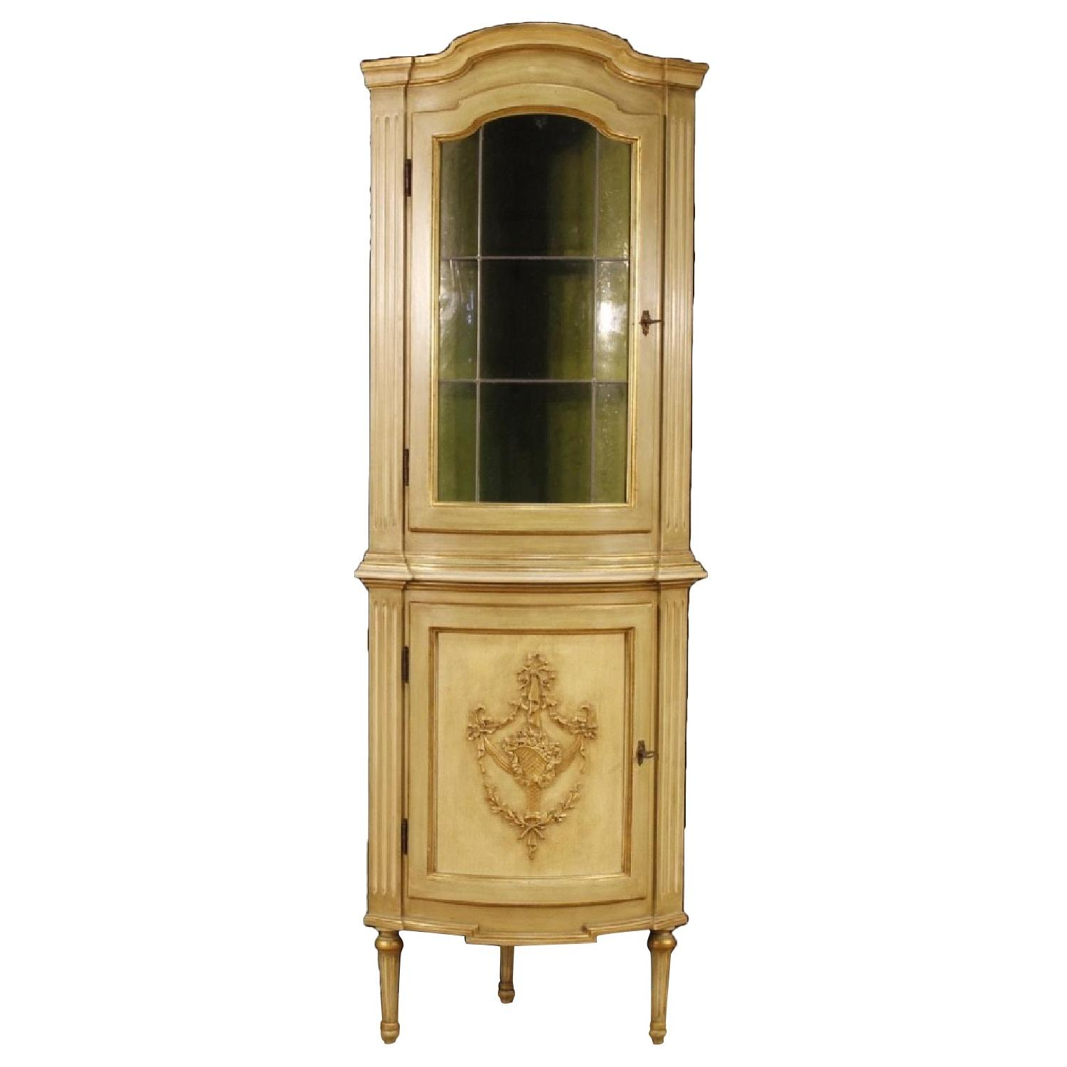 Italian Corner Cupboards in Lacquered & Gilt Wood
