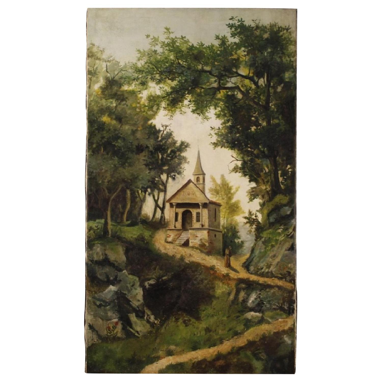 Antique Italian Landscape Painting Oil On Canvas