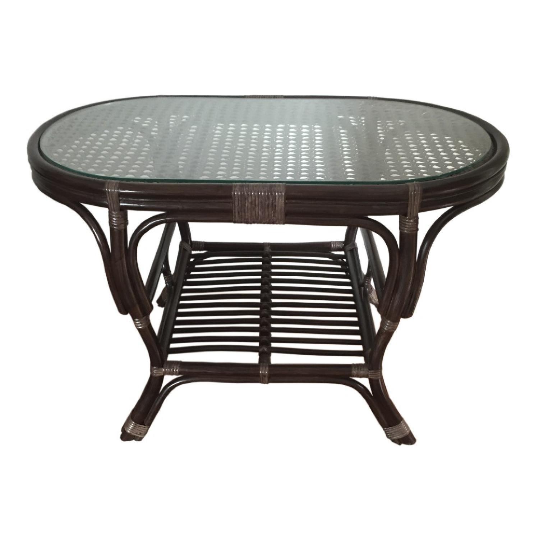 Alisa Dark Brown Rattan Wicker Oval Coffee Table - image-0