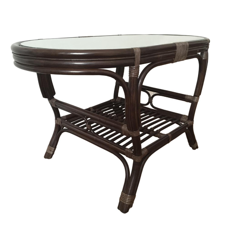 Alisa Dark Brown Rattan Wicker Oval Coffee Table - image-1