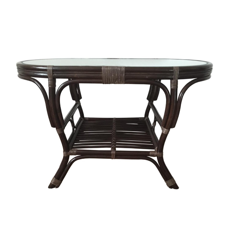Alisa Dark Brown Rattan Wicker Oval Coffee Table - image-2
