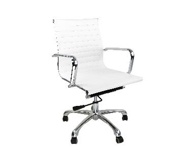 Mid Low Back Eames Style Ribbed Management Office Chair