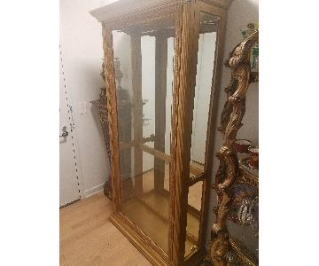 Gold Leaf Glass Curio Cabinet w/ Show Lights
