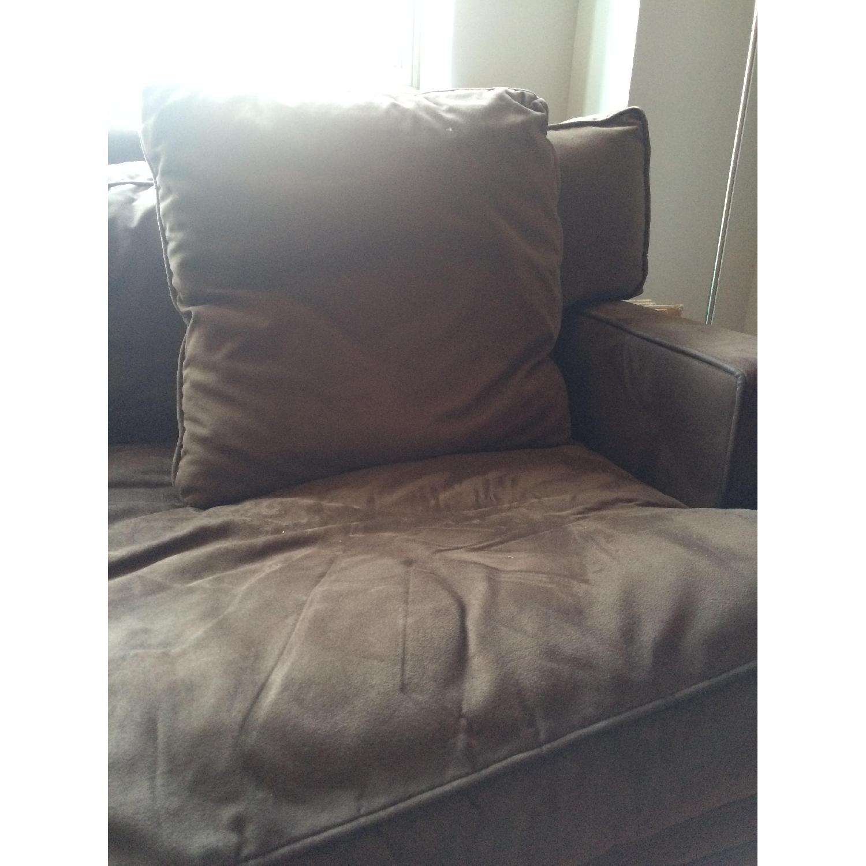Crate & Barrel Suede Sofa - image-1