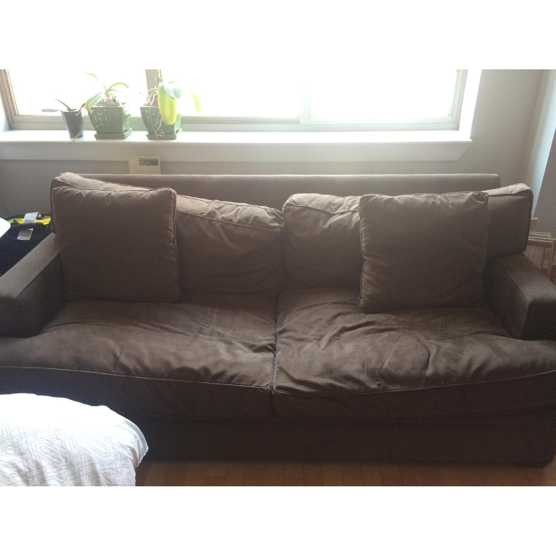 Crate & Barrel Suede Sofa - image-3