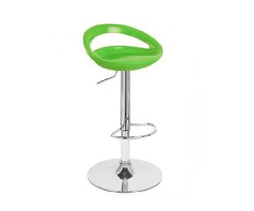 Adjustable Barstools in Lime Green - Pair
