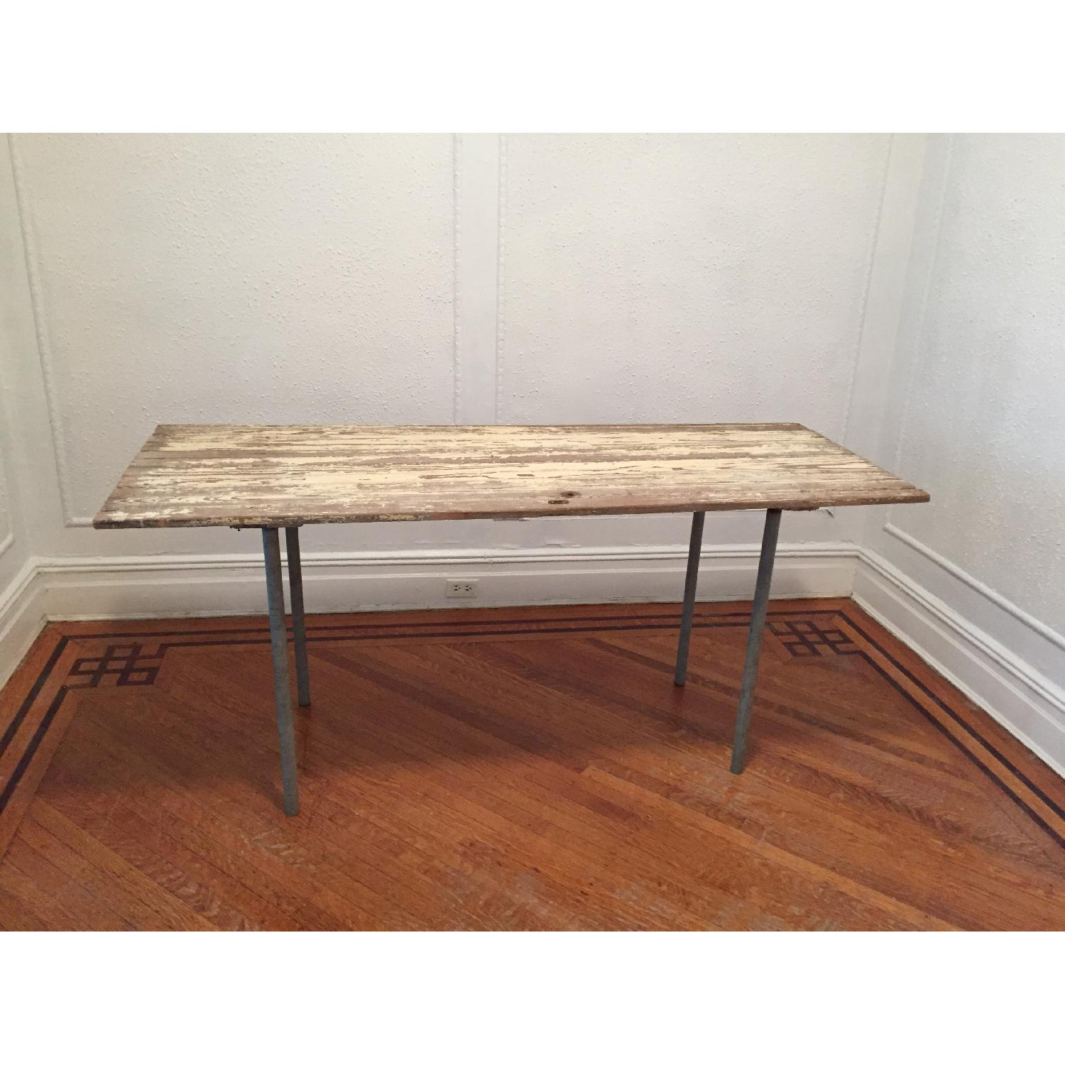 Industrial Distressed Farm Door Dining Table - image-1