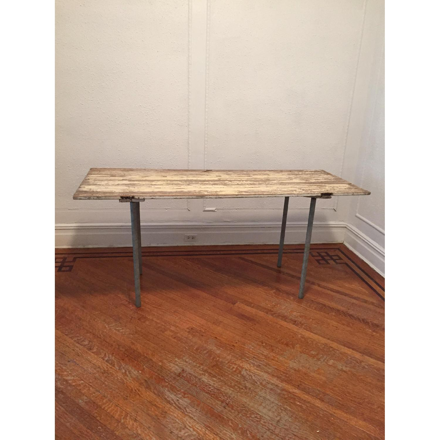 Industrial Distressed Farm Door Dining Table - image-2