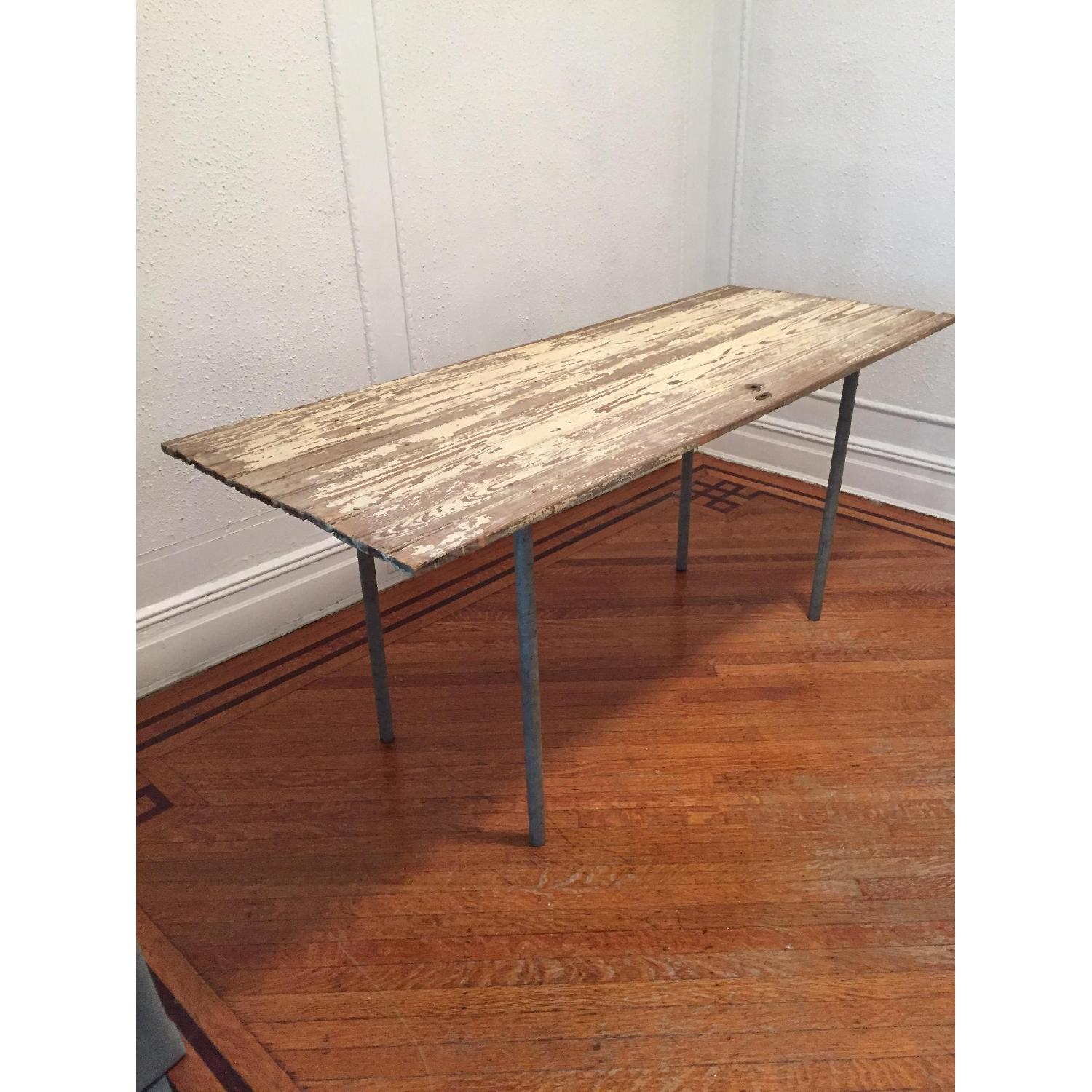 Industrial Distressed Farm Door Dining Table - image-9