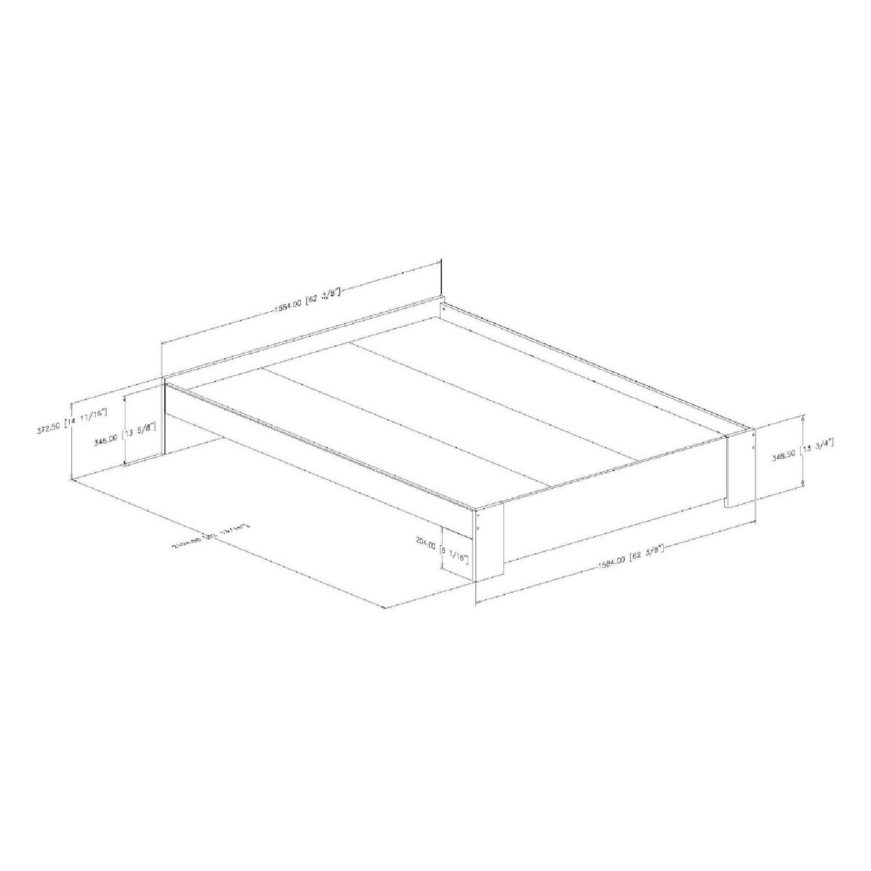 South Shore Mikka Queen Platform Bed Frame w/ Headboard in Black Oak - image-4