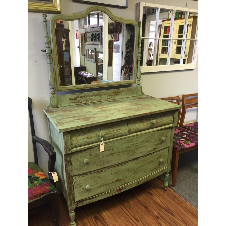 Green Antique Distressed Four Drawer Dresser - image-2