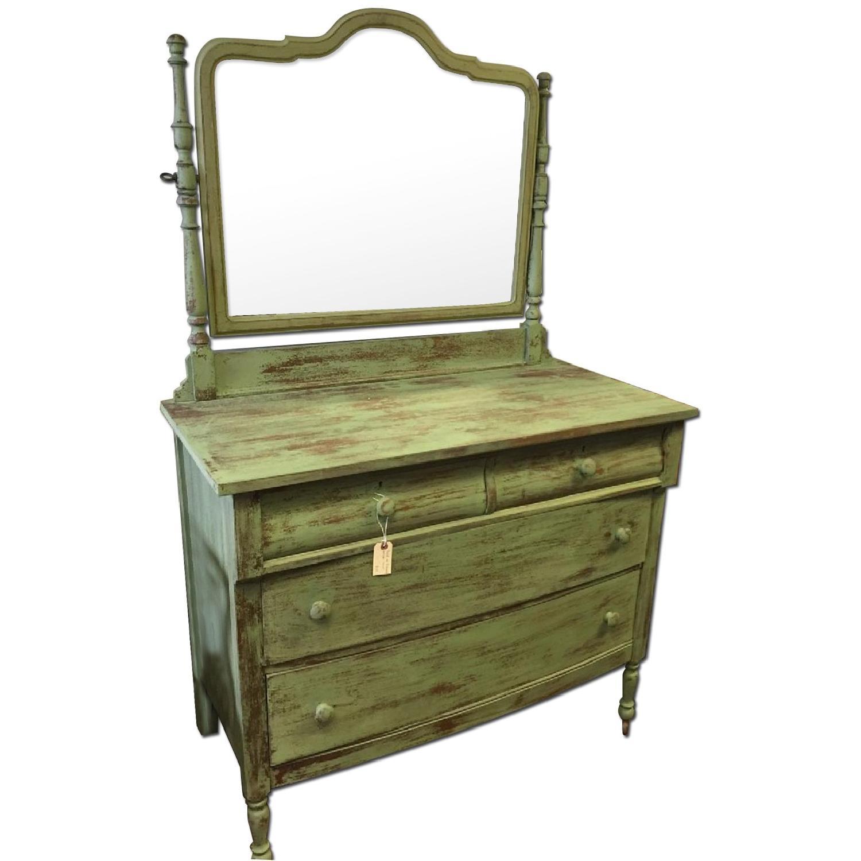 Green Antique Distressed Four Drawer Dresser - image-0