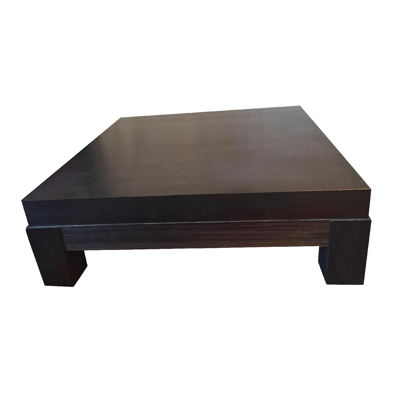 Crate & Barrel Dark-Brown Coffee Table - image-1