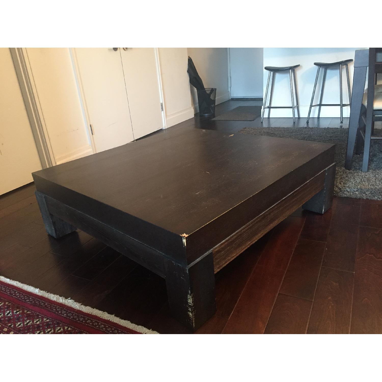 Crate & Barrel Dark-Brown Coffee Table - image-3
