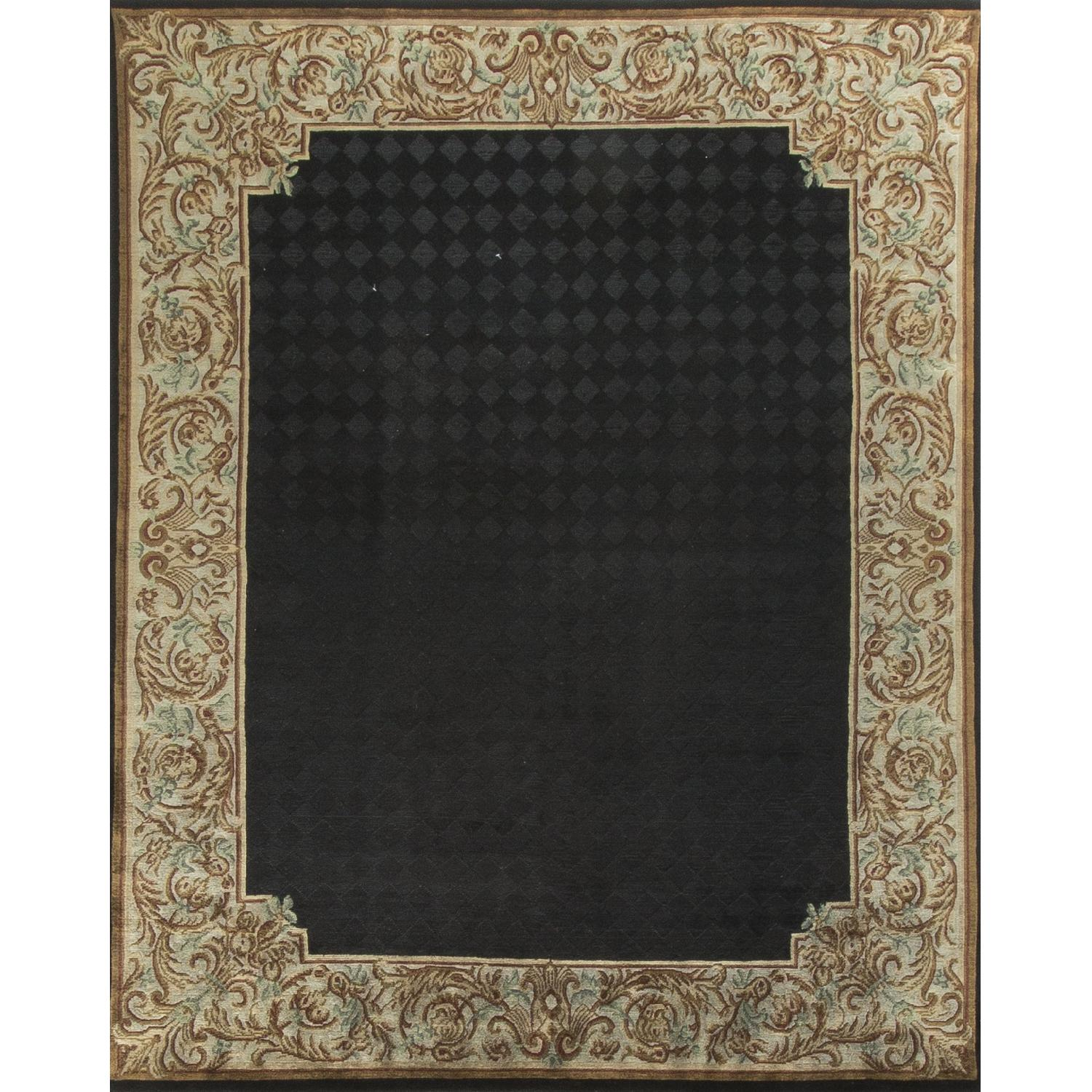 Modern Contemporary Hand Knotted Wool Rug in Black/Gold - image-0