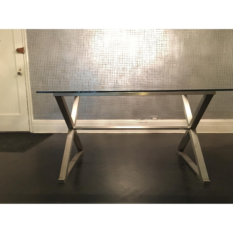 Glass Dining Table w/ Aluminum Base - image-1