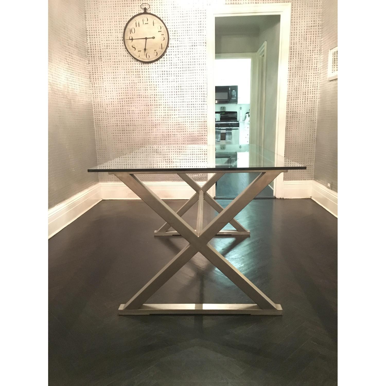 Glass Dining Table w/ Aluminum Base - image-3