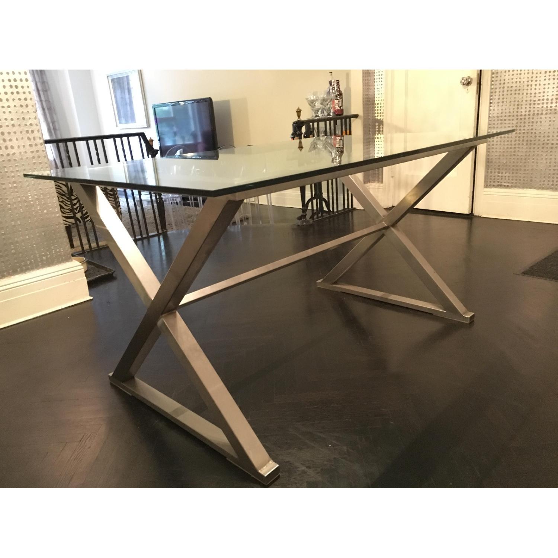 Glass Dining Table w/ Aluminum Base - image-4