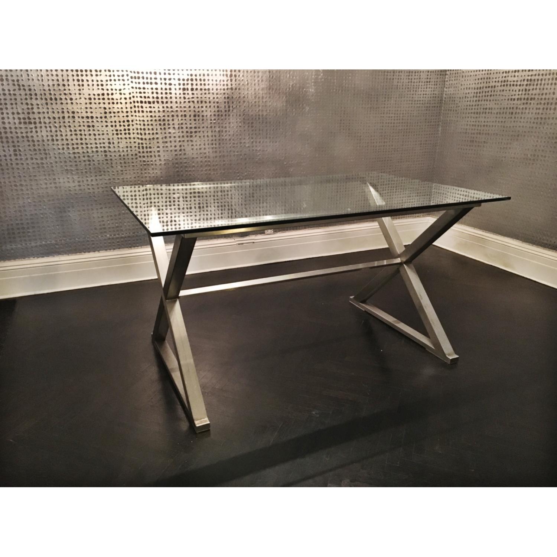 Glass Dining Table w/ Aluminum Base - image-5