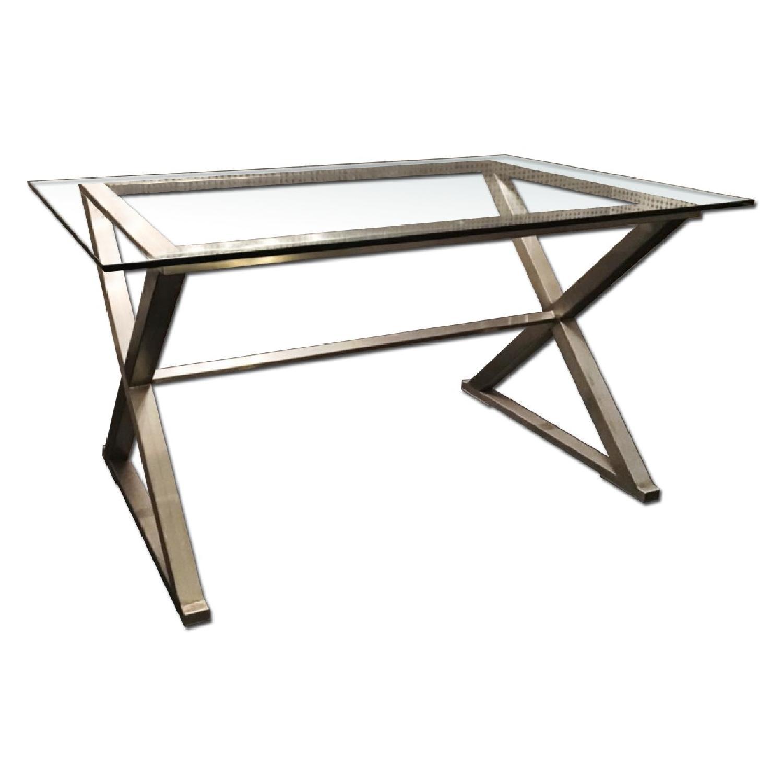 Glass Dining Table w/ Aluminum Base - image-0