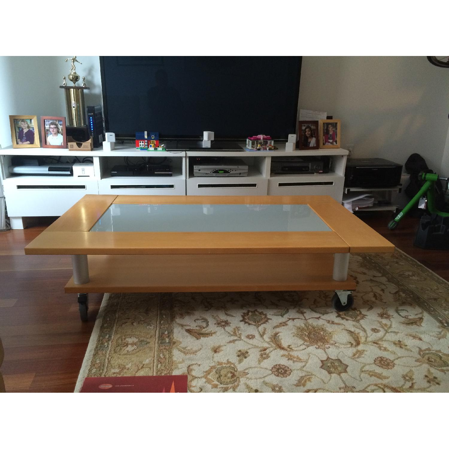 Two-Tier Coffee Table on Wheels - image-1