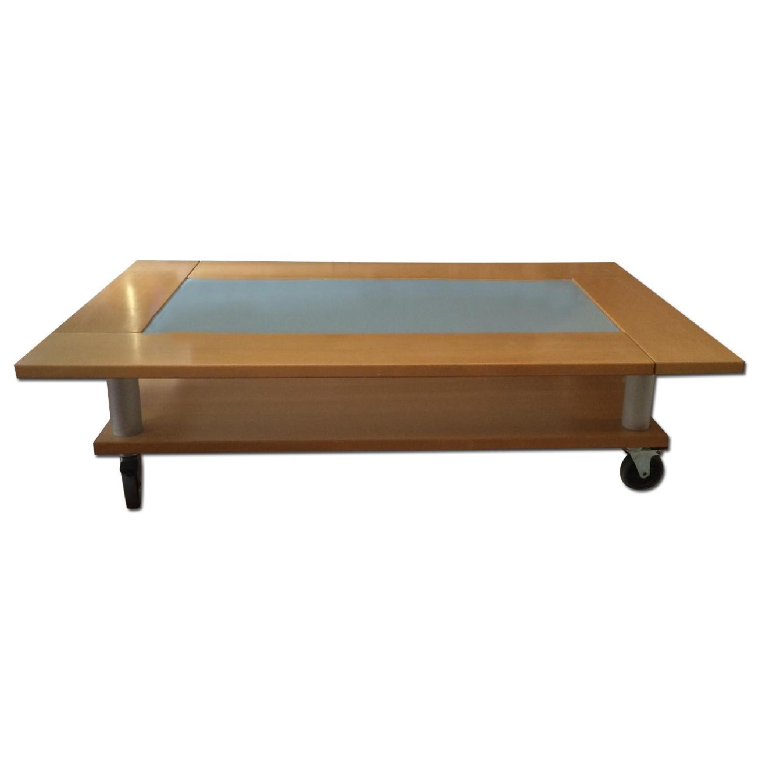 Two-Tier Coffee Table on Wheels - image-0