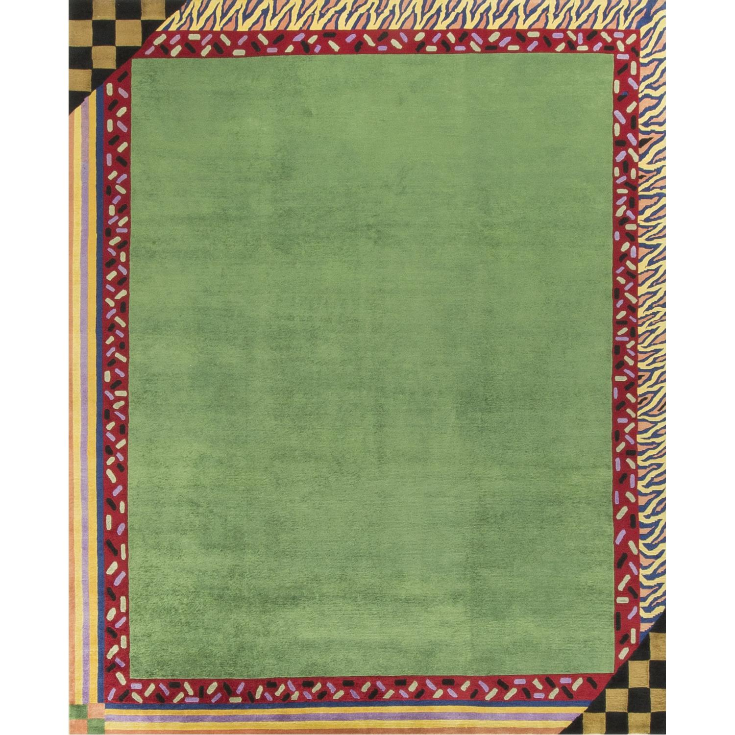 Modern Contemporary Hand Knotted Wool Rug in Green/Red - image-0