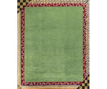 Modern Contemporary Hand Knotted Wool Rug in Green/Red
