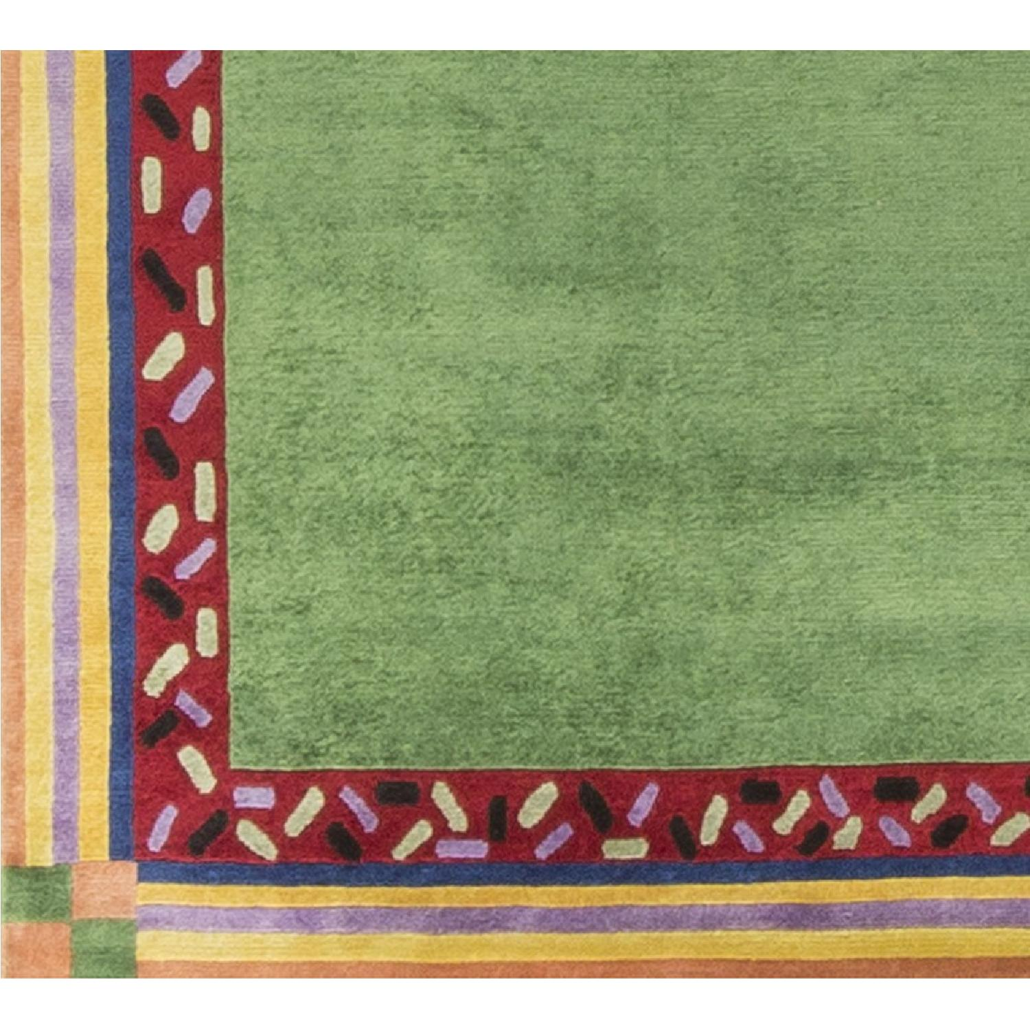 Modern Contemporary Hand Knotted Wool Rug in Green/Red - image-2