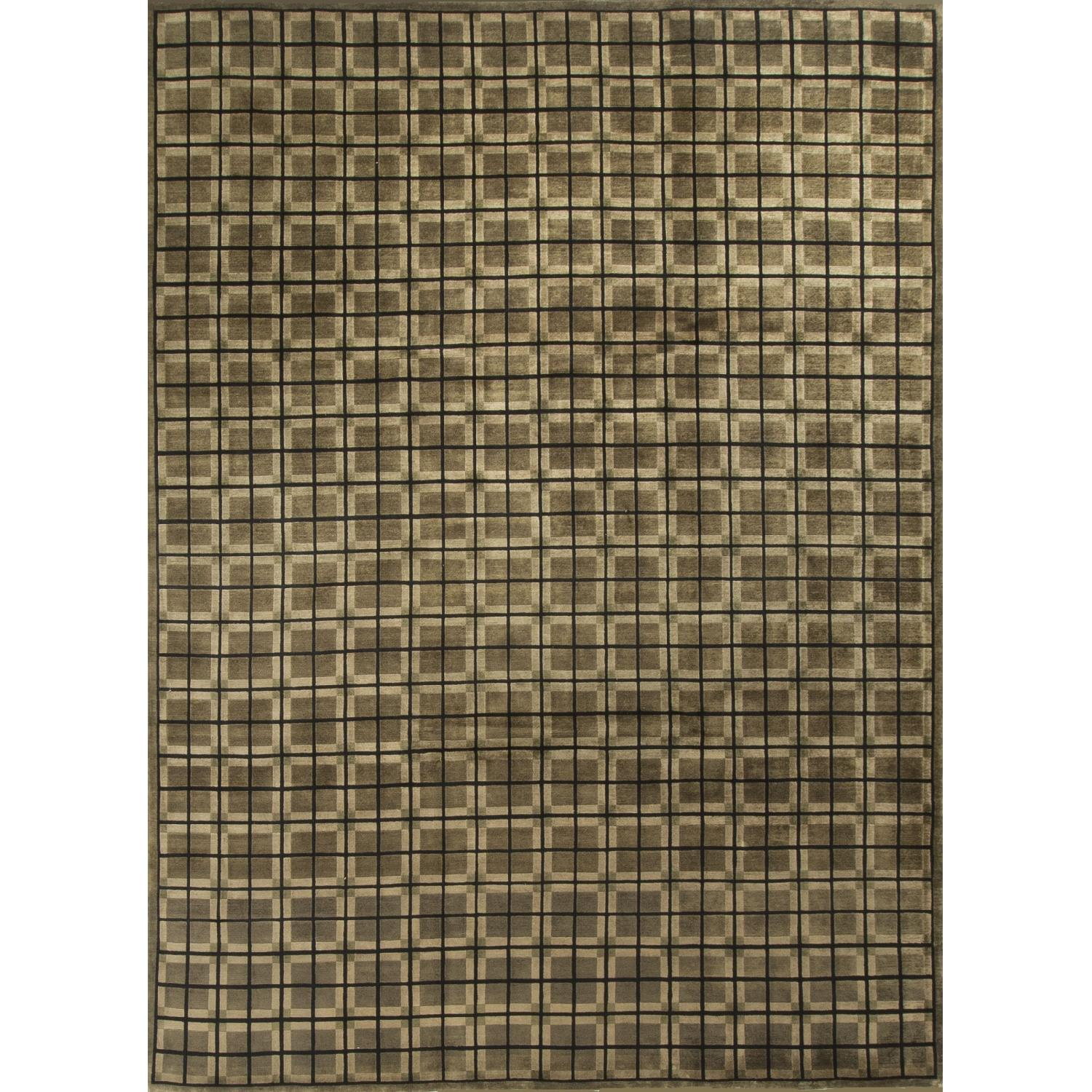 Modern Contemporary Hand Knotted Wool Rug in Green/Brown - image-0