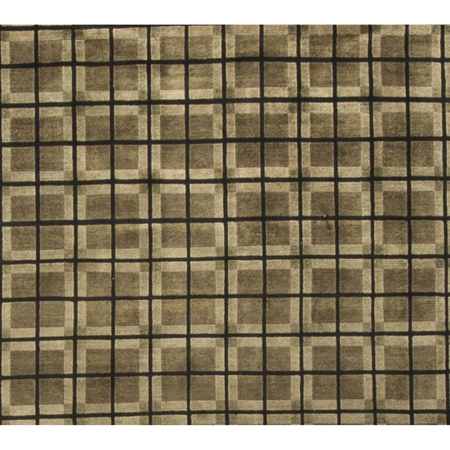 Modern Contemporary Hand Knotted Wool Rug in Green/Brown - image-1